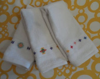 SET of 3 dish towels hand embroidered cotton Terry and white stripe