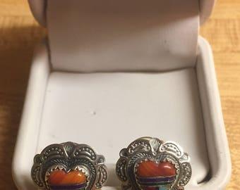 Beautiful Vintage Sterling Silver Inlaid Native American Heart Earrings
