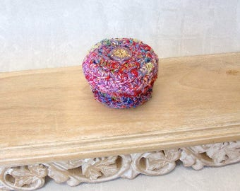 Silk Basket w/ Flower - Unique Silk Tapestry Basket with Floral Glass Embellished Lid - Valentine's, Mother's Day, Wedding Anniversary Gift