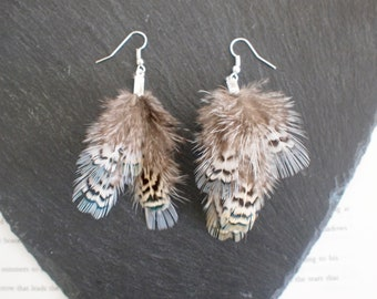Blue, Grey, White Unusual Pheasant Feather Dangle Earrings. Tribal Festival Feather Jewellery. Feather Costume Jewellery. Natural Earrings.