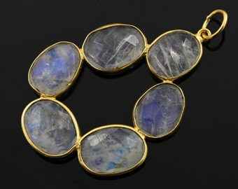 Natural Rainbow Moonstone, 1.8'' Long Bezel Gemstone Component, 24K Gold Vermeil Over Sterling Silver, 1 Piece, (RNMP001-A)