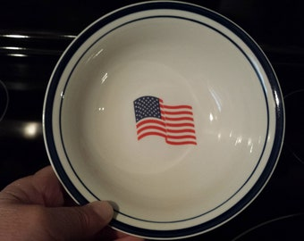 4 Alco Industries - American Flag Pattern - Red White and Blue - Cereal, Salad or Soup Bowls