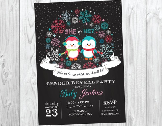 Winter Penguin Gender Reveal Party Invitation - Winter Wonderland Gender Reveal Invite - Chalkboard Snowflake Pink or Blue Boy or Girl
