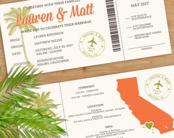 Custom Boarding Pass Wedding Invitations, Boarding Pass, Wedding Invitation, Airline Ticket, Travel Theme Wedding, Destination Wedding
