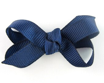 Baby Hair Bow in Navy Blue - Extra Small Boutique Bow On Mini Snap Clip for Fine Hair Newborn to Toddler - Non Slip Barrette mm
