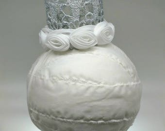 Silver Crown with White Rose Trim