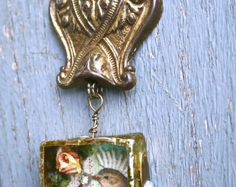 Urban Reliquary - Diamond Kiss - Necklace Mixed Media Brass Box soldering - Ooak -