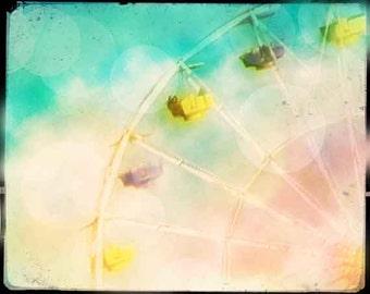 Ferris Wheel Photography, Fine Art Photography, Ferris Wheel Pastel, Bokeh Photo, Vintage Look, Watercolor. Nursery Decor, Nursery Wall Art