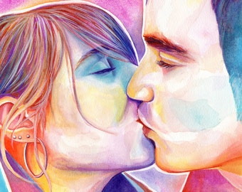 WEDDING GIFT from MAID of honor, for the couple, on wedding day, from bridesmaids, couple portrait, different portrait style, colorful