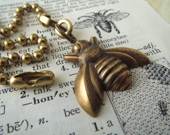 Small Brass Bee Fan Pull Steampunk Ceiling Fan Pull Chain Antiqued Brass Metal Fan Pull Insect Bug Entomology Cosmic Firefly Fan Pull New