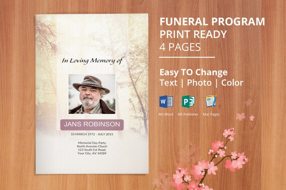 Instant Download Funeral Program Template, Memorial Program, Obituary  Template | Editable With Microsoft Word, Publisher U0026 Mac Page,   EF39 From  Easyfuneral ...