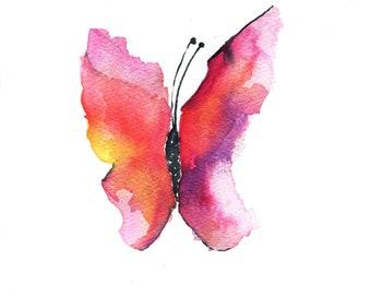 Beautiful Butterfly - girl's room, nursery print, watercolor art