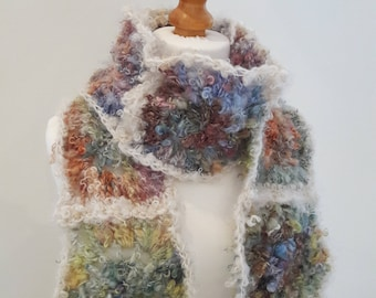 Granny Square Scarf - Hand Made from Mohair Locks Art Yarn - Colourful Soft and Warm