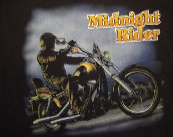 Vintage 90's Midnight Rider Biker Fan Black Motorcycle T Shirt Size XL