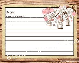 Recipe Card, Vintage Birdcage,Vintage Recipe Card, Birds, Birdcages, Brown -A8