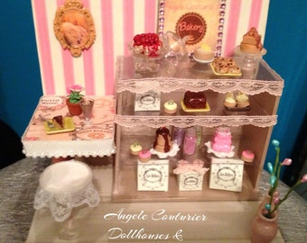 Bakery miniature bakery miniature room box cake chocolate lace furniture