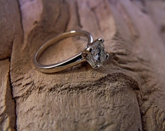 Moissanite- Engagement Ring-Cushion solitaire-- Solid 14K White Gold-- 1.5 carot Cushion Cut- Forever Brilliant Moissanite RF079