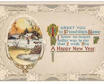 Vtg 1912 New Years Postcard In Friendships Name Embossed