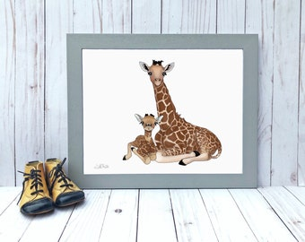 Safari Nursery Decor Gift for Baby Girl Giraffe Wall Decor Zoo Animal Print African Animals Baby Shower Gift Art Print Instant Download