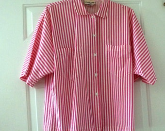 Vintage Shirt Blouse Short Sleeve Dolman Cherokee Pink White Stripe Womens Medium