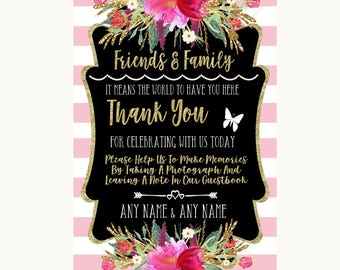 Gold & Pink Stripes Photo Guestbook Friends and Family Personalised Wedding Sign
