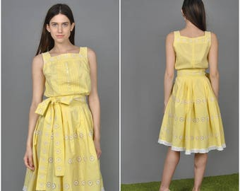 1950s Yellow Embroidered Blouse Skirt set   vintage 1950s blouse skirt set    embroidered cotton 50s blouse and skirt set