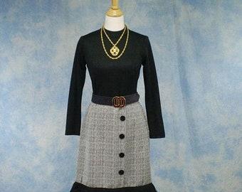 ON SALE Vintage 60s/70s Bayberry Mod Poly Knit Fringed Dress, Size Medium, Med, 10
