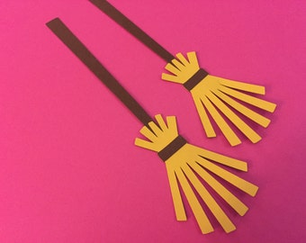 5 Broom die cuts, Broom embellishments, Witch broom die cuts, Halloween die cuts, broom tags