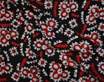 Tricolor Floral Batik Block Print Cotton Fabric