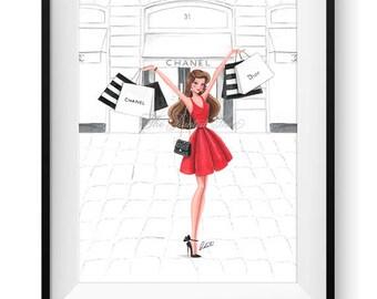 Fashion illustration print, Fashion art, watercolor, girl art, girls room art, vanity art, shopping, shopaholic - Retail Therapy Red