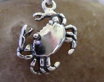 Cute Crab Charm Sterling Silver 9MM  Sea Life Marine Nautical