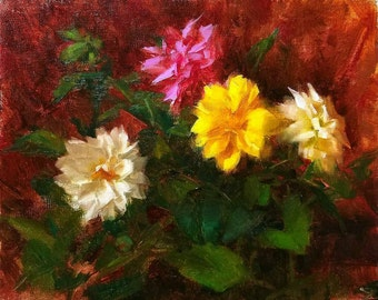 Colorful Dahlia Blossoms - Original Oil Painting  by Jerry Sumpter