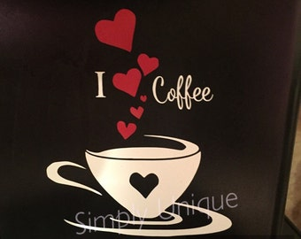 Keurig Coffee Maker Decal, I love Coffee, Coffee decal, Keurig, Coffee