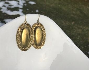 Brass earrings, handmade earrings, artisan earrings, hammered earrings, antique earrings, oval earrings