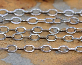 1 ft.  Small Etched Cable 3x1.5mm Chain Antique Silver