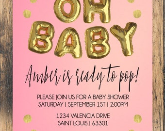 Oh Baby Shower Invitation - Gold, Pink, Blue, Balloons, About to Pop
