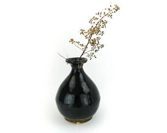 SALE | Vintage Flower Vase, Industrial Chic Home Decor, Black Earth Tone Vase, Pear Shape Vase | Vintage Clay Vase with Black & Brown Glaze