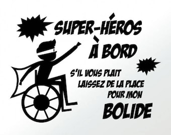 Decal stickers car superhero - boy handicap - wheelchair