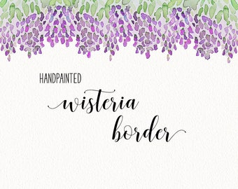 """Watercolor Wisteria Border Clip Art - 12"""" INSTANT DOWNLOAD - hand painted wedding 
