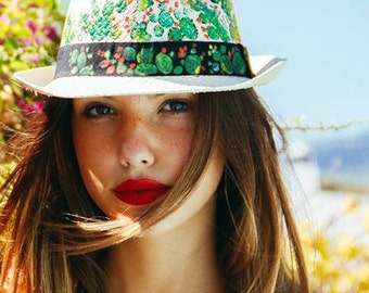 Hand painted straw hat