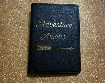 Adventure Awaits RFID blocking passport holder | RFID passport wallet in Vegan Leather