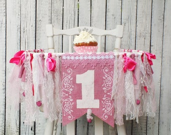 Girl First birthday banner 1st birthday girl Pink birthday banner Cake smash banner Highchair banner girl Princess party banner One banner