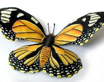 """Butterfly Wall Art, Monarch Butterfly, Metal Wall Hanging, 34"""", Painted Butterfly, Outdoor Garden Art, Metal Art, Garden Decor, BU-517-34"""
