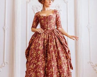 Robe a la polonaise, woman gown 18th century, Europe.