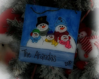 Snowman Family Personalized Country Christmas Door Hanger Decoration