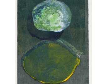 Print: Lemon with shadow, oil paint on Rives BFK paper, 9 x 6""