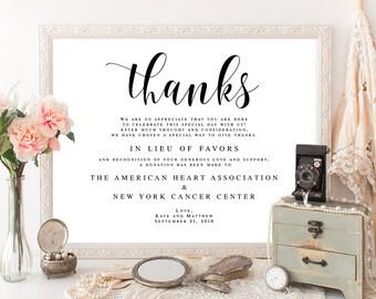 In lieu of favors template In lieu of favors sign download Wedding donation template In lieu of favors donation sign Favor donation #vm31
