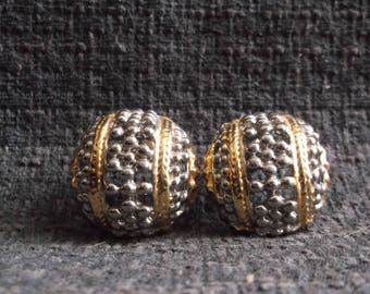 80s period large earrings gold and silver toned