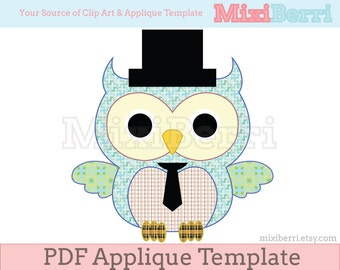 Mr. Owl Applique Template PDF Animal Applique Pattern Instant Download