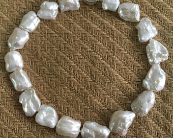 Baroque Pearl Necklace Huge White Rectangle Pearls  Big Bold/Chunky Wedding Jewelry